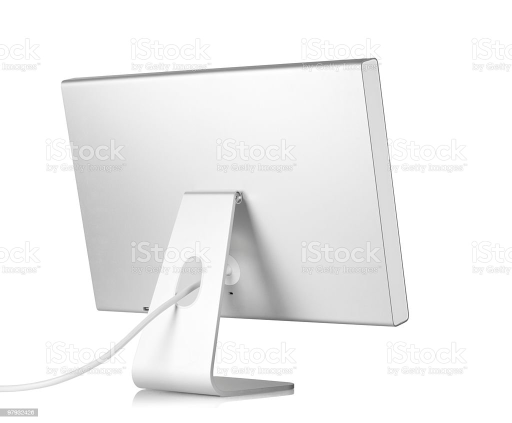 A clean blank white computer monitor and its wire royalty-free stock photo
