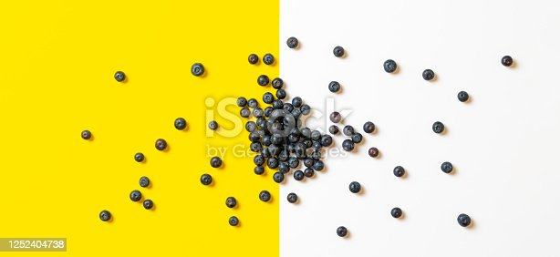 670420880 istock photo clean blueberry berries fruit isolated on the colorful surface, copy space, minimalist 1252404738