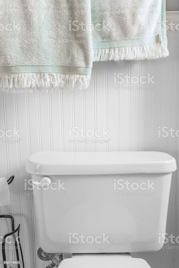 Clean, bright, american toilet with light green towels stock photo