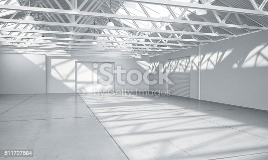 istock Clean bright warehouse car showroom 3D rendering 511727564
