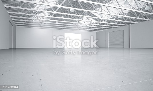 istock Clean bright warehouse car showroom 3D rendering 511733344
