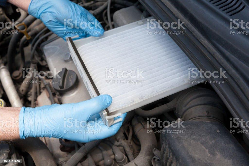Clean cabin pollen air filter for a car stock photo