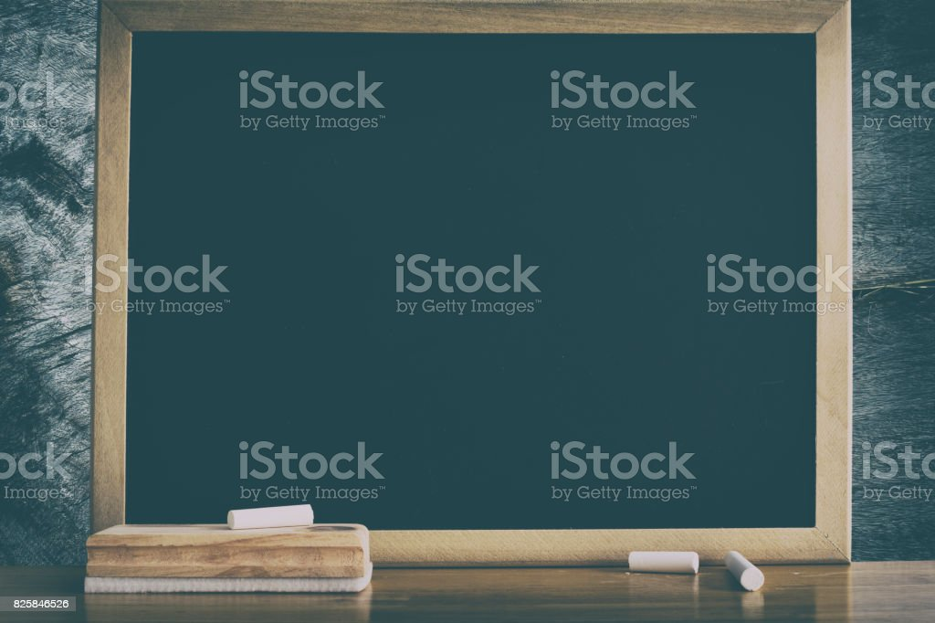 Clean Chalkboard for background. Black board for display text or graphic design. Abstract background. stock photo
