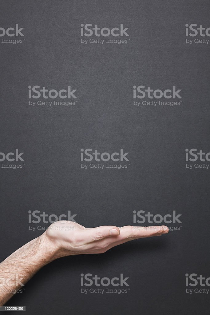 clean chalkboard with hand and copyspace royalty-free stock photo
