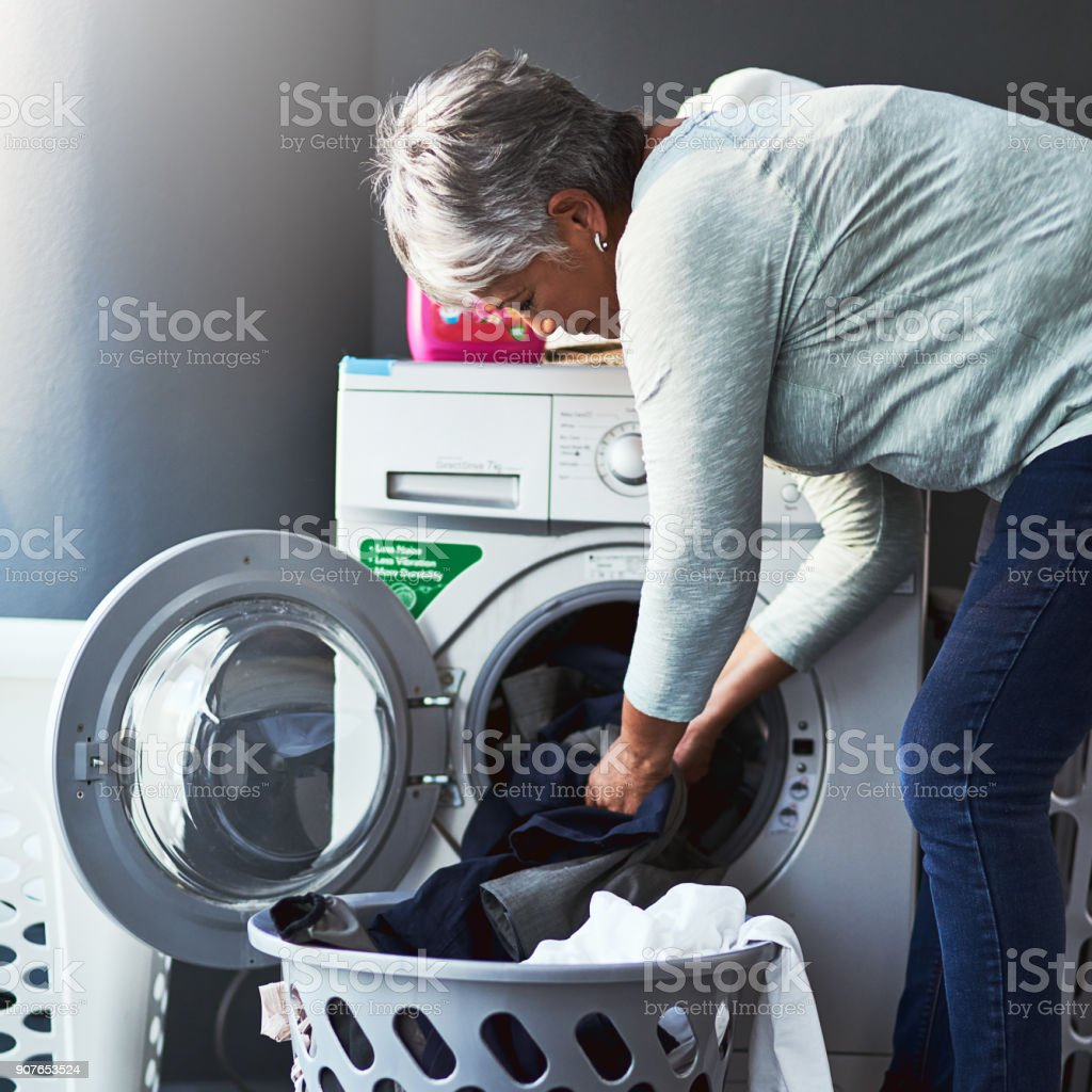 Clean clothes coming right up stock photo