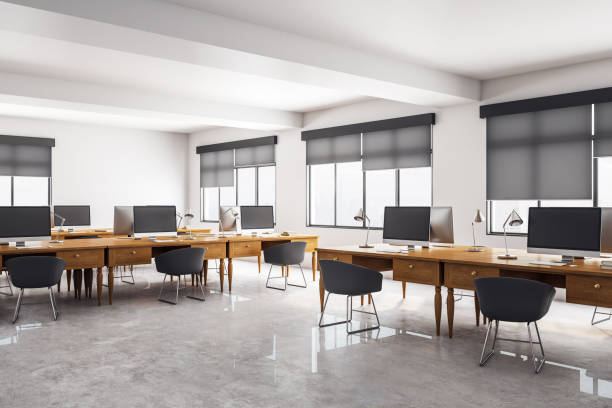 clean concrete coworking office interior - estore imagens e fotografias de stock