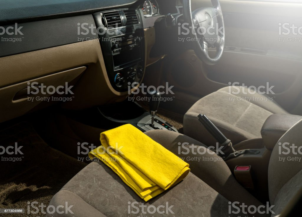 Clean console modern car, black indoor design, copy space. stock photo
