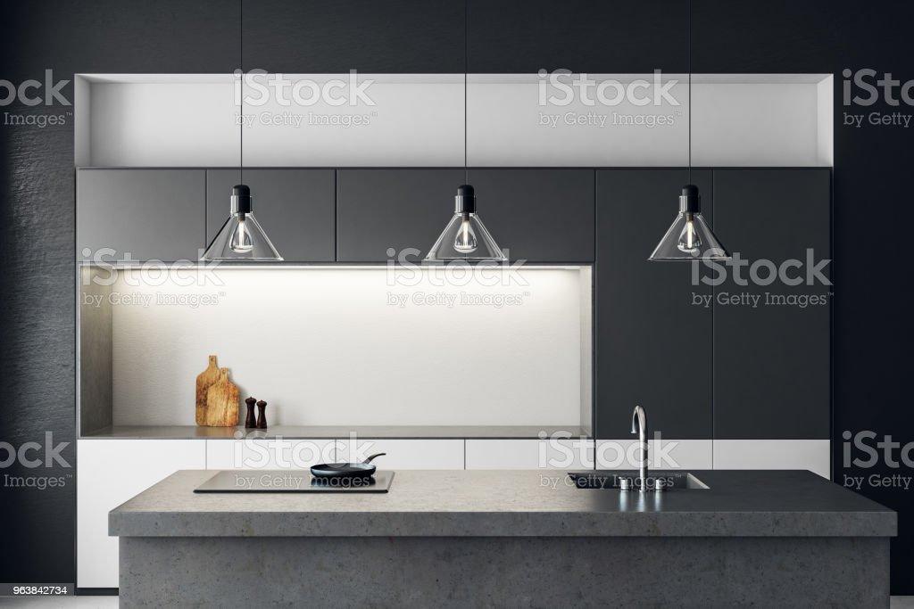 Clean dark kitchen interior - Royalty-free Apartment Stock Photo