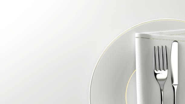 Placa de cubiertos de diseño limpio y mesa de vacío. Render 3D. - foto de stock