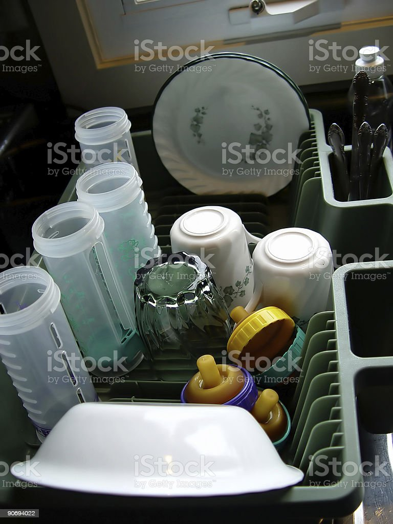 Clean Dishes in Tray royalty-free stock photo