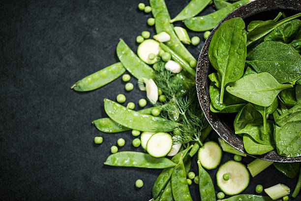 clean eating and healthy diet green vegetables stock photo