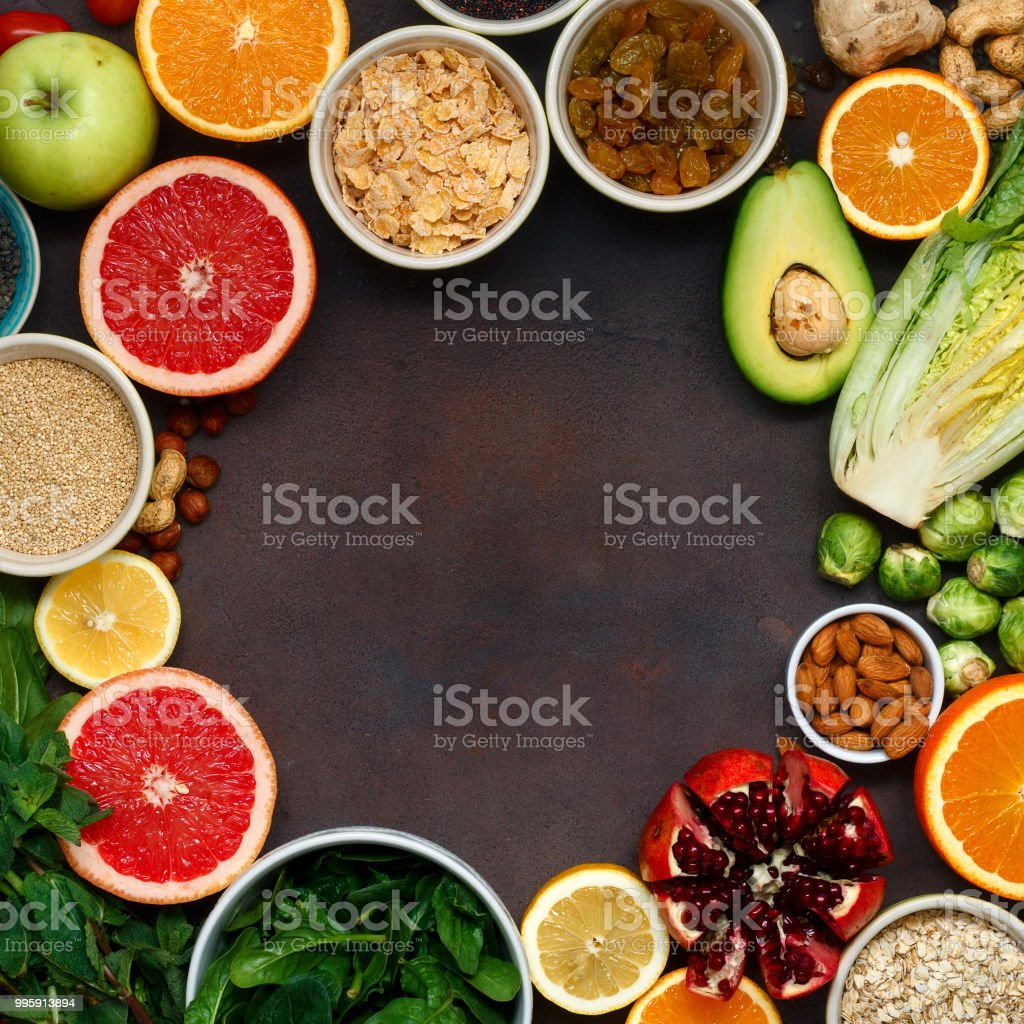 Clean eating concept Frame of vegetarian healthy food stock photo