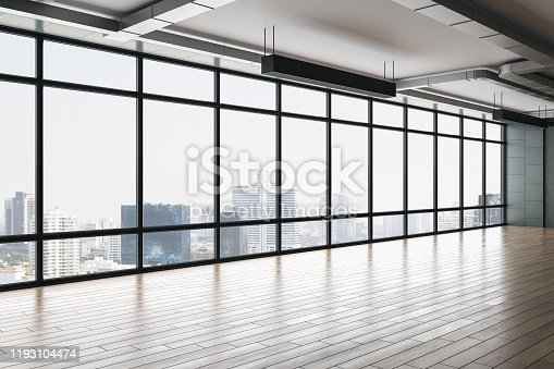 Clean empty office interior with panoramic city view, reflections, daylight and copy space. 3D Rendering