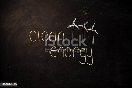 istock TEXT Clean Energy against black backdrop - Illustration 966674480