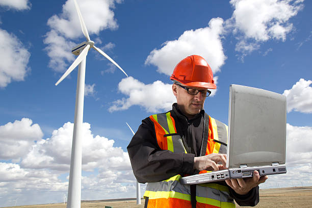 Clean Energy and Engineer stock photo