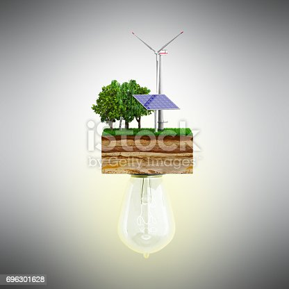 istock Clean energy concept The bulb is connected to a clutch of ground with a windmill and a solar battery 3d ernder 696301628