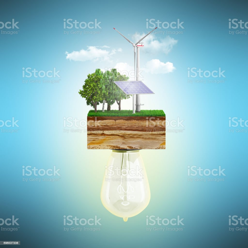 Clean energy concept The bulb is connected to a clutch of ground with a windmill and a solar battery 3d ernder stock photo