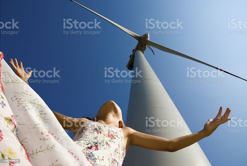 clean energy for the children's future stock photo