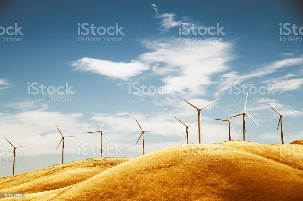 Clean energy from a windfarm in California  royalty-free stock photo