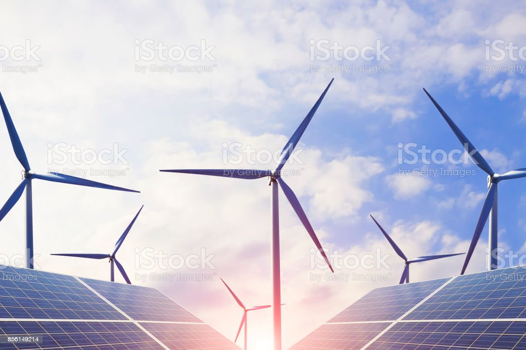 Clean energy, wind power and photovoltaic power generation, and energy-efficient light bulbs to solve future energy shortages stock photo