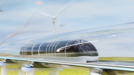 Clean energy with Hyperloop innovation, magnetic levitation train moving, and nature background. Future technology of transportation. 3d render.
