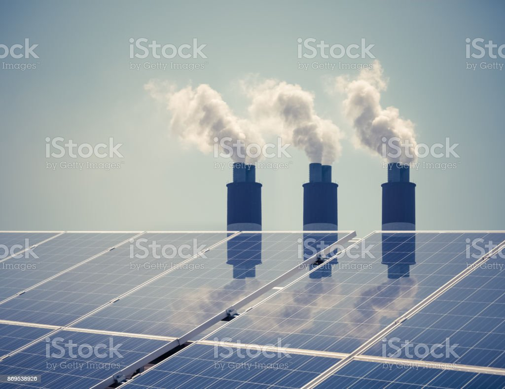 clean energy with pollution stock photo