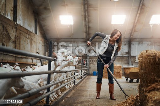 Shot of a confident young woman working at a goat farm