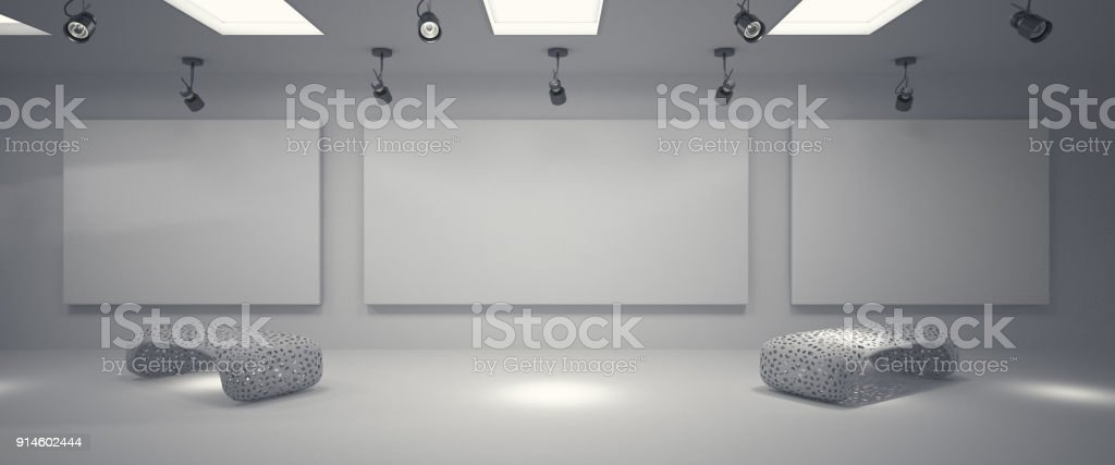 Clean gallery with spotlights stock photo