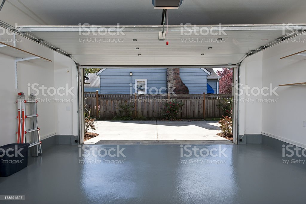 Clean garage Interior of a clean garage in a house Architecture Stock Photo