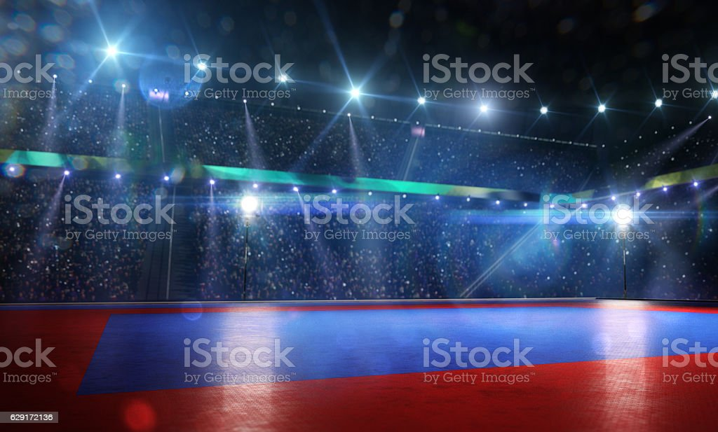 Clean grand combat arena in bright lights stock photo