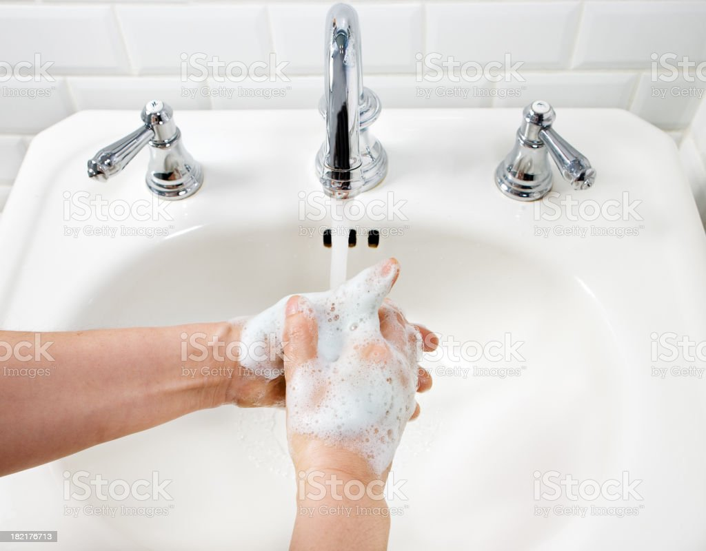 Clean hands with soap royalty-free stock photo