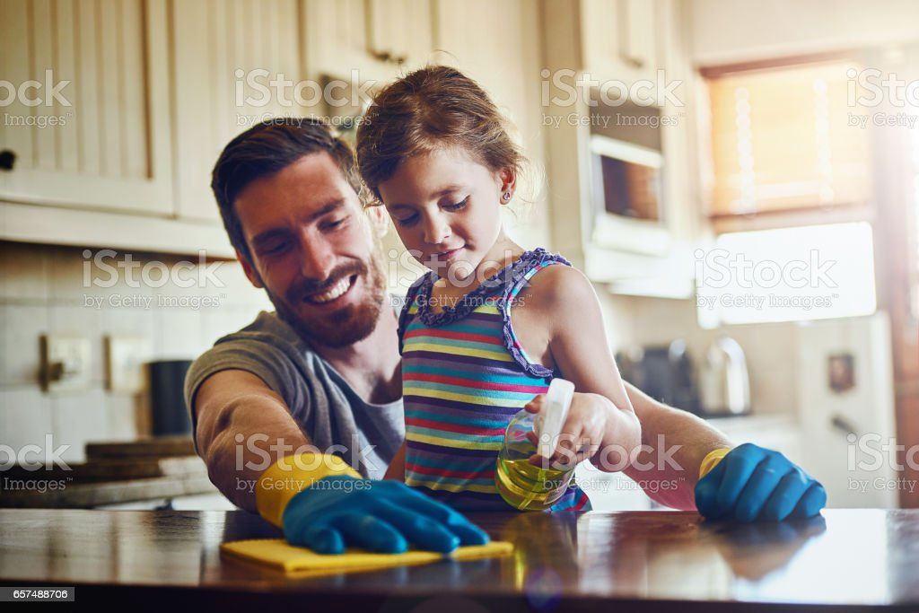 Clean houses make for happy homes stock photo