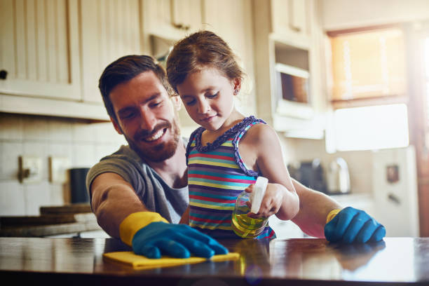 clean houses make for happy homes - household chores stock photos and pictures