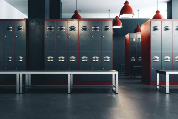 Clean locker room interior stock photo