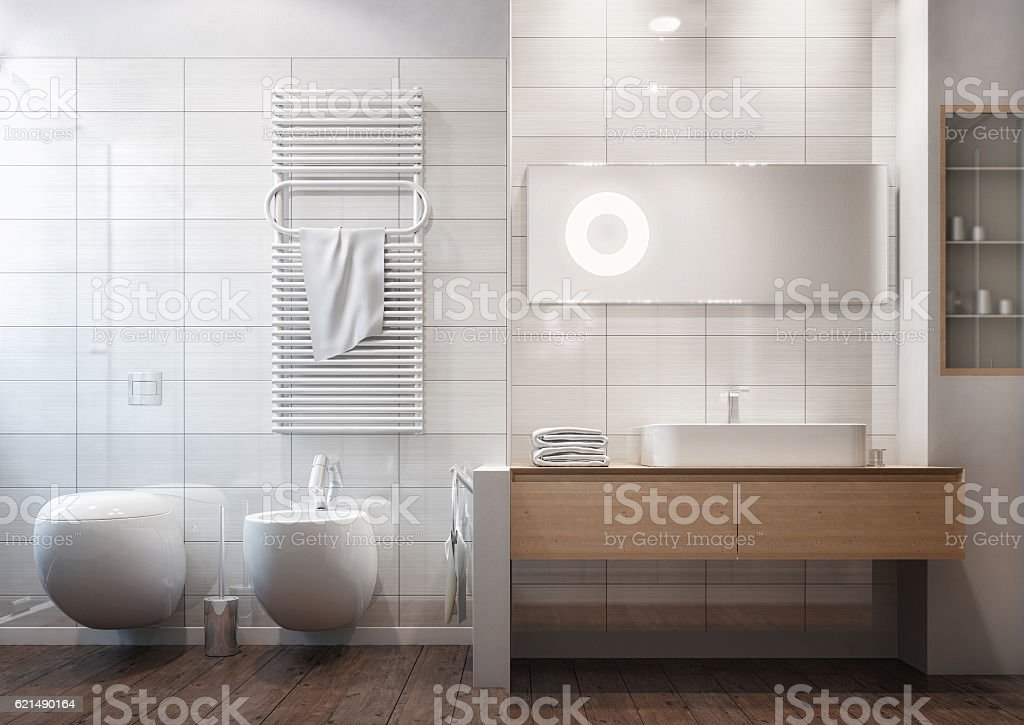 Clean modern bathroom stock photo
