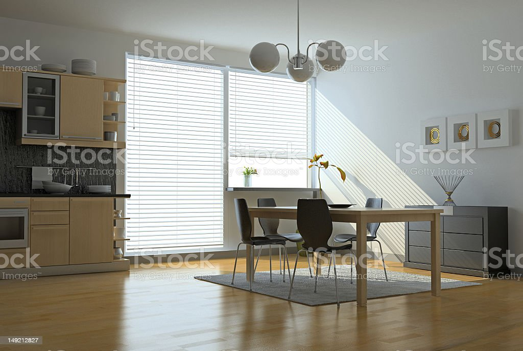 Clean modern kitchen and dining area stock photo