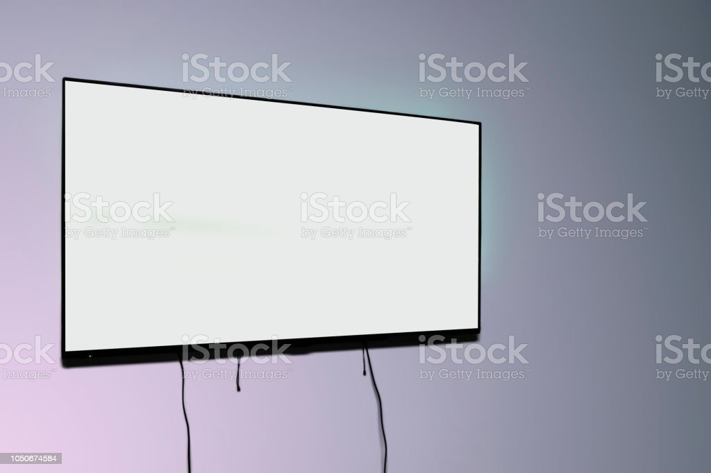 Clean monitor mockup, blank tv screen on the wall, copy space, space...