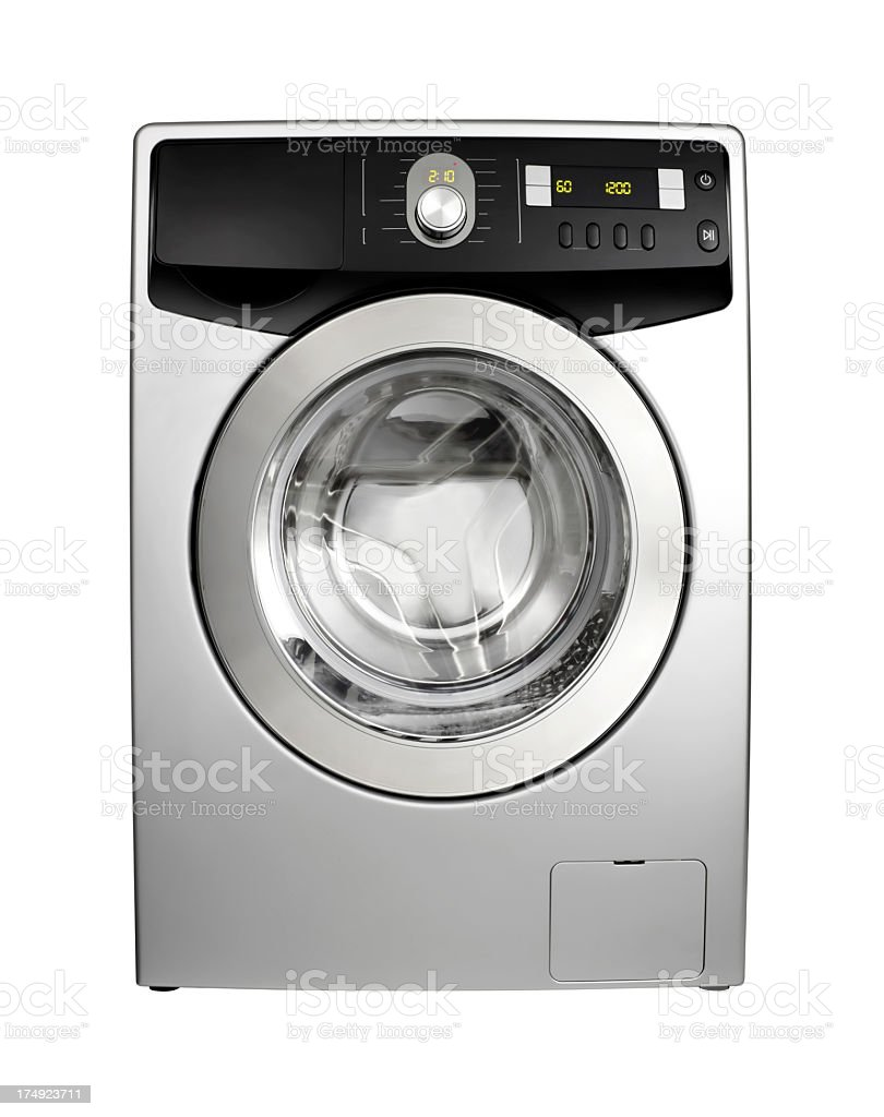 Clean new silver color washing machine with digital display stock photo