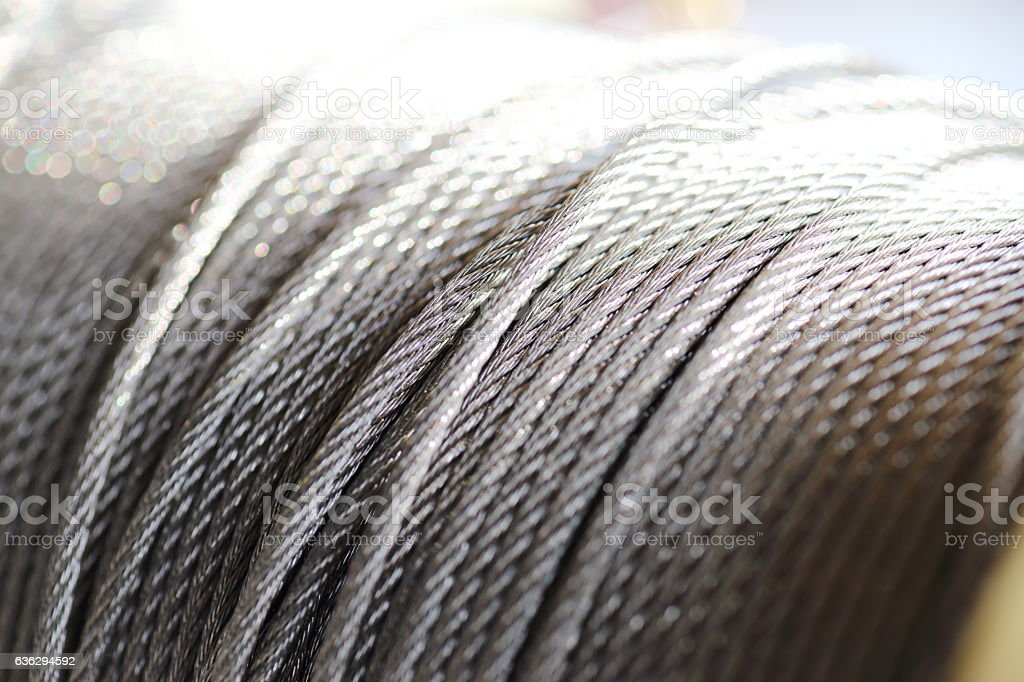 clean new steel cable steel wire or steel rope stock photo