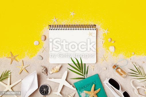 936373320 istock photo Clean notebook with accessories on yellow table top view. Planning summer holidays, travel and vacation background. Flat lay. 1149258213