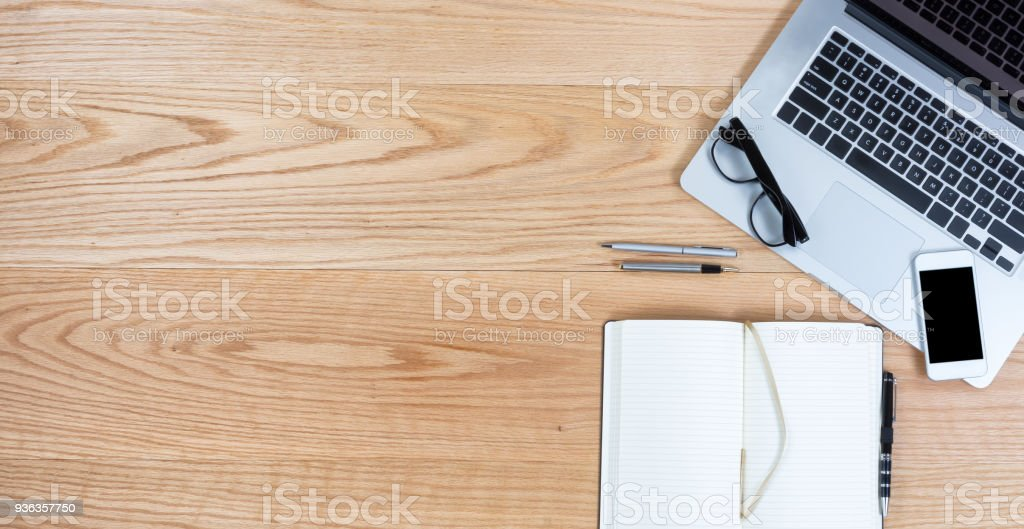 Clean oak desktop for business or education background stock photo