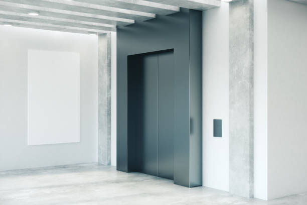 Clean office interior with elevator stock photo