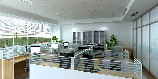 clean office space - office cubicle stock pictures, royalty-free photos & images