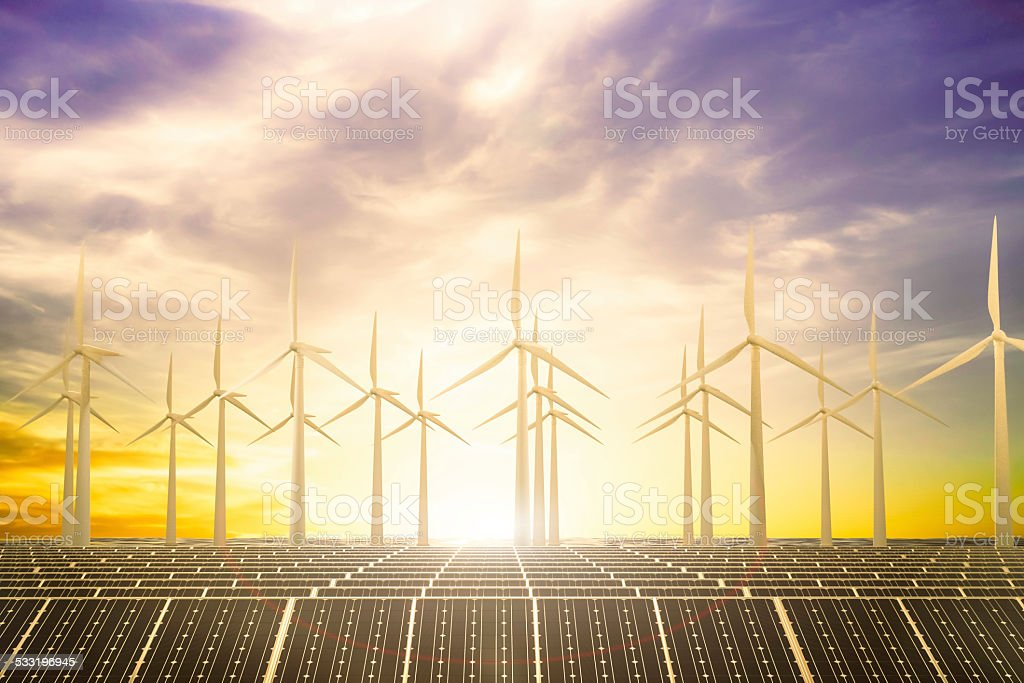Clean power beach solar panel beach and Wind generator turbines in sea with sun set.3D physically rending high quality. 2015 Stock Photo
