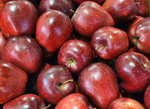 Clean red apples background Fresh and clean red apples group from harvesting red delicious apple stock pictures, royalty-free photos & images
