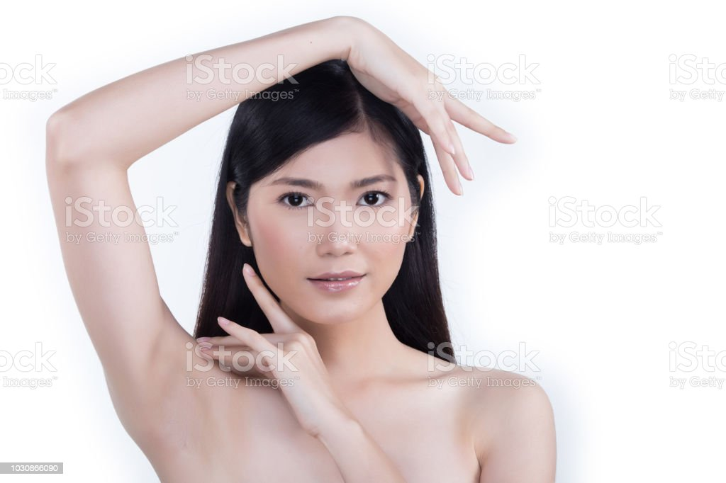 Clean Skin Woman straight black hair with Smooth pose open shoulder smile stock photo