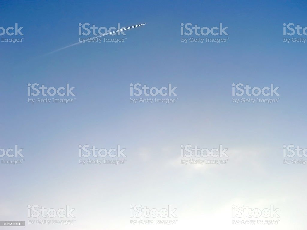 Clean sky with small airplane far away royalty-free stock photo