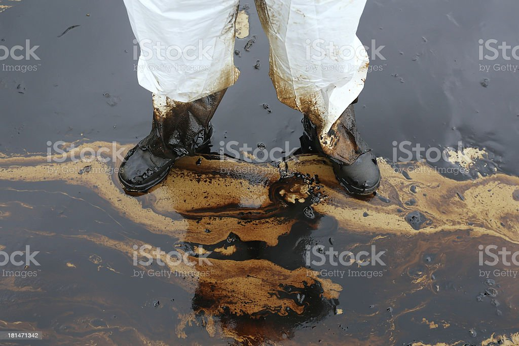 clean up Crude oil stain stock photo