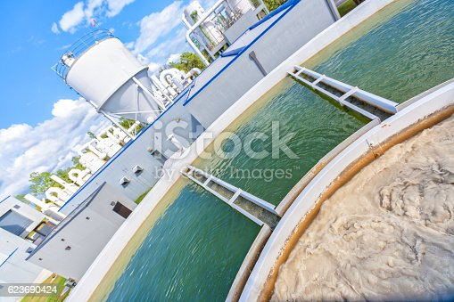 Angled view of a water treatment plant at a cleaning station.