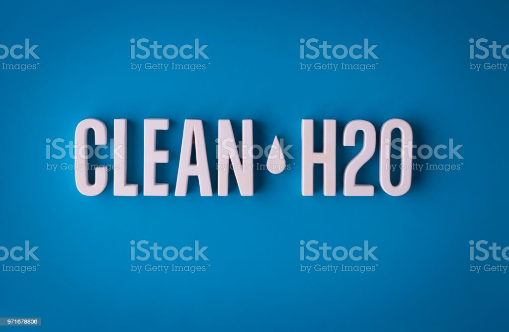 Clean water H2O lettering sign stock photo